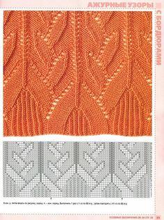 "Photo from album ""Узоры спицами"" on Yandex. Rib Stitch Knitting, Knitting Stiches, Knitting Charts, Lace Knitting, Cable Knitting Patterns, Knit Patterns, Stitch Patterns, Filet Crochet, Crochet Motif"