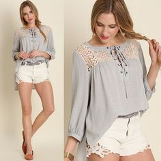 CHARLIZE Tie Up Lace Blouse - SILVER Super feminine Tie Up Lace Blouse. Hi lo style. NO TRADE, PRICE FIRM Bellanblue Tops Tees - Long Sleeve
