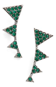 This gorgeous pair of pavé-crystal stud earrings are right on trend with the gorgeous green color craze for fall.