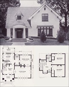 A rather elegant little house! The Carlyle From 101 Modern Homes by Standard Homes Company, 1923 Little House Plans, Small House Plans, House Floor Plans, The Plan, How To Plan, Vintage House Plans, Second Empire, House Blueprints, Sims House