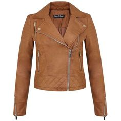 Miss Selfridge Quilted Moto Jacket ($53) ❤ liked on Polyvore featuring outerwear, jackets, coats, leather jacket, brown, leather biker jacket, brown moto jacket, moto jacket, brown quilted jacket and leather motorcycle jacket