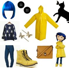 Ideas for theme Coraline Coraline Halloween Costume, Halloween Cosplay, Halloween Outfits, Halloween Costumes For Kids, Halloween Party, Diy Costumes, Cosplay Casual, Disney Outfits, Fandom Fashion