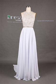 Sweet 16 White High Neck Gold Beading Open Back A Line Long Flowy Prom Dress/Long Chiffon Homecoming Dress/Sexy Evening Party Dress For Colors: You