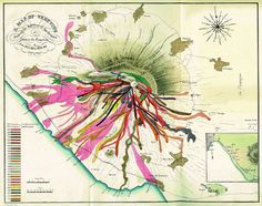 John Auldjo's Map of Vesuvius was drawn in 1832 and depicts the path of lava flows