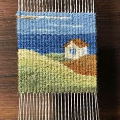 Yesterday's — you can see its progress in the comic. It could have used another inch of water before the sky,… Weaving Textiles, Weaving Art, Tapestry Weaving, Loom Weaving, Weaving Designs, Weaving Projects, Weaving Patterns, Contemporary Tapestries, Rugs