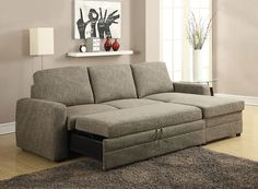 Acme 51645 Derwyn Storage Sleeper Sectional Sofa $740  The Derwyn Sectional Sofa Collection is constructed in light brown linen with oversized tufted seat and back cushion. Not only the oversized seats, it also comes with a chaise for head to toe relaxation. This will give your living room environment the perfect contemporary style you have been looking for  Features: Derwyn Collection Pull- Out Bed Loose Back Cushion Storage Chaise  Includes: 1 Left Facing Loveseat, 1 Right Facing Ch