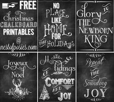 Christmas 2014- for mantle and front entry way...5 Free Christmas Chalkboard Printables to Deck your Halls! - Nest of Posies