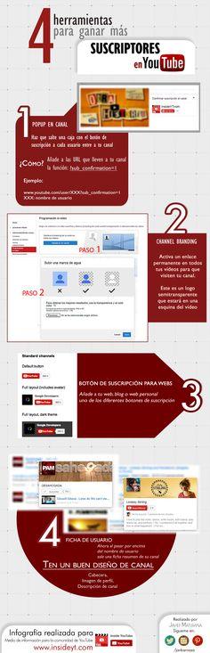 4 herramientas para ganar suscriptores en YouTube #infografia #infographic