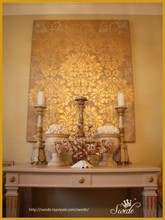 Elegant Metallic DIY Canvas Wall Art - Royal Design Studio - Fabric Damask Wall Stencils