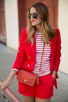 Red Short Suit - Mango Blazer, and Forever 21 shorts! Stripes Fashion, Denim Fashion, Star Fashion, Fashion Outfits, Net Fashion, Fashion Trends, Beautiful Outfits, Cute Outfits, Short Suit