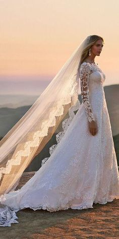a-line lace wedding dresses with long sleeves davids bridal