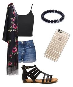 """Floral kimono"" by nevaeh170 on Polyvore featuring Topshop and Casetify"