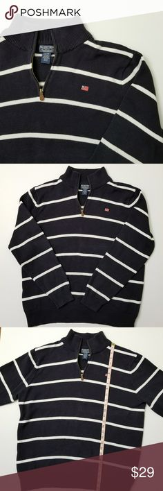 Polo Ralph Lauren Men Pullover Thick Knit Sweater Like New Condition !!!  Ralph Lauren Polo Jeans Company Half ZipNavy and White Striped Thick Knit Sweater.  Size: XL (See all photos for measurements) Color: Navy and White Style: Striped  Zip style: Quarter-Zip with brown leather and bronze tone metal Emblem: Ralph Lauren Flag Polo by Ralph Lauren Sweaters Zip Up