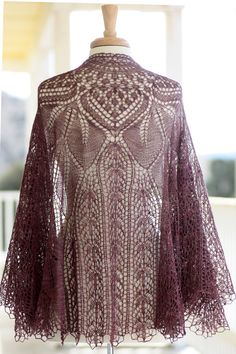 This would be wonderful in white or silver blue for a wedding shawl.