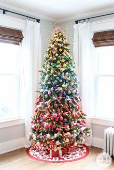 Ombre Rainbow Colored Christmas Tree, Новогодняя елка, как украсить елку на Новый год, новогодний интерьер, идеи своими руками на новый год, декор елки, стильное украшение новогодней елки своими руками, праздничный декор, новогоднее оформление интерьера, елка своими руками, елка новый год. christmas ideas, christmas decor, christmas decorations, interior, christmas tree ideas, christmas tree decorations, christmas tree themes
