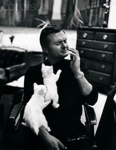 Kittens Clinging to jazz musician Stan Getz #famous #people #cats