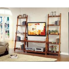 @Overstock - Organize your entertainment devices with this two-shelf ladder TV stand. The pecan finish coordinates nicely with most traditional and modern living room decor, and the large top shelf can accommodate a big-screen television with ease.http://www.overstock.com/Home-Garden/Pecan-Finish-2-shelf-Ladder-TV-Stand/6484383/product.html?CID=214117 $134.99