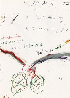 Cy Twombly, Untitled Wax crayon and pencil on paper, 101 x 70 cm.