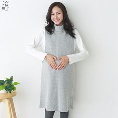 Foshan factory made cashmere blend two pieces grey turtleneck maternity dress
