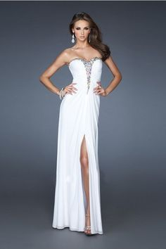Prom Dresses 2013 New Arrival White Sheath/Column Sweetheart Chiffon Floor Length USD 139.99 YPPGY1QNGR - YesPromDresses.com