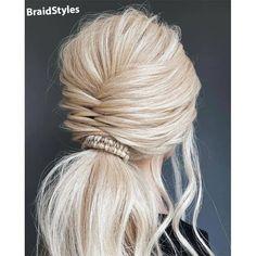 شینیون -بافت دم اسبی تیغ ماهی و بافت پیچی Chignon Hair, Ponytail, Infinity Braid, Hair Heaven, Braided Updo, Bridal Hair Accessories, Scrunchies, Updos, Boho Wedding