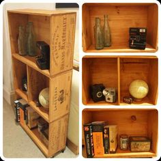 Rolling crate bookshelf diy eep furniture pinterest for Where can i find old wine crates