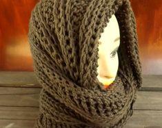 PATRÓN de ganchillo bufanda con capucha capucha por JocelynDesigns