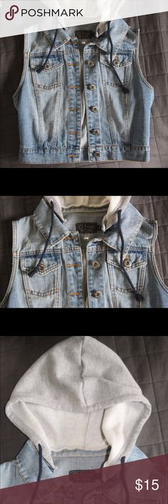 008b53037 Cropped jean vest with hood stylish jean vest with a slight crop and its  hooded with