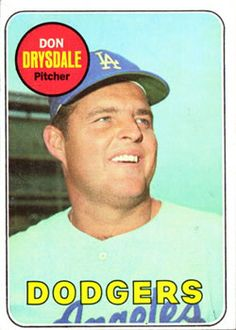 1969 Topps #400 Don Drysdale Front Dodgers Baseball, Sports Baseball, Baseball Cards, Don Drysdale, Sports Figures, National League, Trading Card Database, Los Angeles Dodgers, Mlb