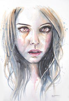 Tears of gold by Erica Dal Maso Watercolor Portraits, Watercolor And Ink, Watercolor Paintings, Watercolor Journal, Pintura Graffiti, Erica, Painting Videos, Beautiful Sky, Deviantart