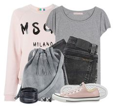 Pastel Pink Sweatshirt & Sneakers by brendariley-1 on Polyvore featuring MSGM, Acne Studios, Nudie Jeans Co., Converse, Warehouse, ABS by Allen Schwartz and Waterford