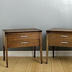 Before: bedside tables - Fun salvage makeovers? - Sunset  This is the before picture, the after will make you want to cry.  Sunset will show you how to ruin a highly sought after Drexel John Van Koert bedside table!  Please check the value of an item before destroying it!  Shame on you Sunset for printing this and Shame on the person who devalued a fine piece of furniture. I found one of these and with some TLC brought it back to it original beauty.
