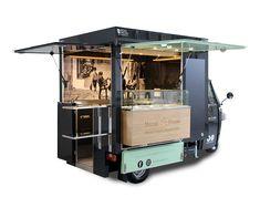Piaggio Ape TR® Food Truck im Einkaufszentrum (Par Mobile Food Cart, Mobile Food Trucks, Food Cart Design, Food Truck Design, Piaggio Ape, Coffee Truck, Snacks Diy, Food Truck Interior, Interior Ideas