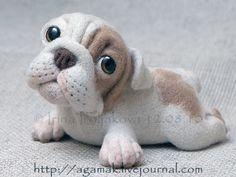 http://agamak.livejournal.com/55044.html «Моська», щенок английского бульдога. Единственный экземпляр. Материал- непряденая овечья шерсть. Глазки расписаны акрилом, покрыты лаком. Высота 9 см. Длина- 16 см.
