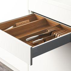 VARIERA Utensil/knife tray, bamboo - IKEA Modern Kitchen Cabinets, Kitchen Drawers, Kitchen Chairs, Diy Kitchen, Kitchen Furniture, Kitchen Ideas, Kitchen Design, Kitchen Reno, Kitchen Remodel