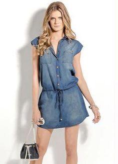 Denim Dress oh yess V Dress, Jeans Dress, Dress Outfits, Shirt Dress, Simple Dresses, Cute Dresses, Casual Dresses, Denim Fashion, Girl Fashion