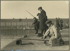 fishing in the gladstone dock, liverpool on a saturday afternoon in the somebody has just caught a flook. Photo by Mrs Hardman Courtesy of The National Trust Liverpool Docks, Liverpool History, Liverpool Home, War Film, Fantasy Films, China Mugs, Gone Fishing, Reference Images, Historical Pictures