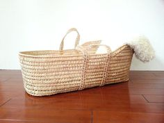 Baby Woven Basket Moses Style Baby Bassinet Bed  by HOUSEOFMINTAGE