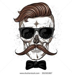 Hipster skull with mustache and glasses.White background.bow tie.