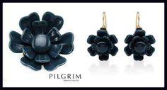 PILGRIM - Demi Parure - Blue Plastic Flower Brooch & Earring Jewellery Set