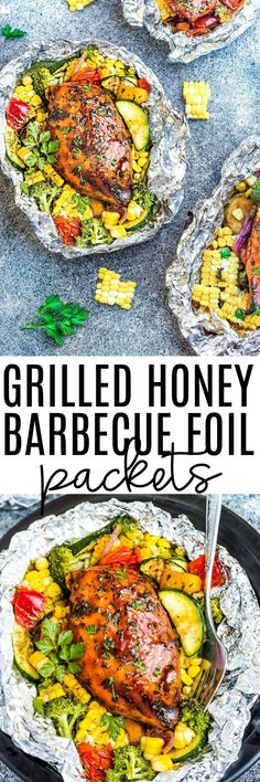 Grilled Honey Barbecue Chicken Foil Packets are the easiest summer meal with practically no clean-up! Perfectly tender chicken grilled with fresh summer veggies and coated in a delicious sweet and tangy barbecue sauce.