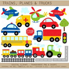 Trains, Planes and Trucks Clip Art / Primary Colors / Transportation Clipart… 2nd Birthday Parties, Boy Birthday, Train Clipart, Transportation Birthday, Hawaiian Party Decorations, Clip Art, Fire Trucks, Planes, First Birthdays