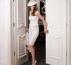 Another shiny white mother of the bride dress. So chic! John Charles Mother of the Bride Collection via @WorldofBridal