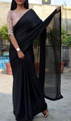 Saree blouse designs - Black satin georgette saree custom made designer chantilly lace blouse womens wedding party wear sari sarees – Saree blouse designs Black Saree Blouse, Saree Blouse Neck Designs, Saree Blouse Patterns, Black Blouse Designs, Saree Jacket Designs, Indian Blouse, Dress Designs, Trendy Sarees, Stylish Sarees
