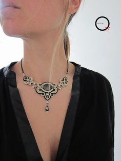 Soutache Pendant, Soutache Necklace, Diy Necklace, Bead Jewellery, Beaded Jewelry, Jewelery, Handmade Jewelry, Soutache Tutorial, Ideas Joyería