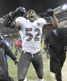 Ravens linebacker Ray Lewis celebrates the 38-35 victory over the Denver Broncos in the AFC divisional playoff. He lives to play another game!