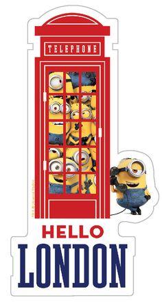 Minions Hello London Phone Booth Telephone Box Bumper Sticker Decal