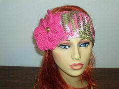 Pink Camo Crochet Headband/Earwarmer with by BeyondCrochet on Etsy