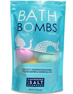 Bath Bombs in a Bag - Pack of 6. Assorted. Made with Shea Butter and Essential Oils by San Francisco Salt Company