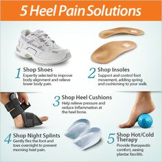Got heel pain? Shop from our 5 types of heel pain solutions above and on the FootSmart website for relief. We've got shoes, insoles, heel cushions, night splints and hot/cold therapy solutions that can help relieve symptoms of plantar fasciitis and other causes of heel pain.